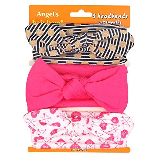 COUXILY 3 Stück Baby Mädchen Stirnband Blumen Baumwolle Haarband mit Bogen für 0-24 Monaten (D07)