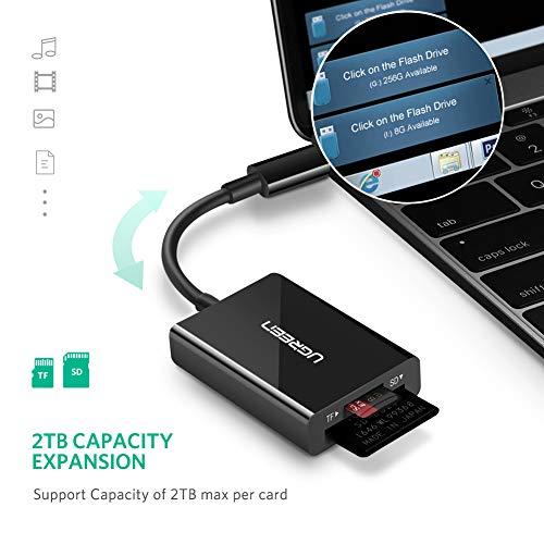 UGREEN USB C Kartenleser SD Adapter USB C TF Card Reader USB Typ C Kartenleser gleichzeitige Auslesung für MAcbook Pro, Dell XPS, Samsung S8, S9 Plus, Note9, A8 2018, Huawei P20 Pro, P20 usw (Schwarz)