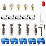 Youmile 5piezas Kit 3D impresora V6 bloque calentador aluminio para con 5piezas rosca M6 latón 0,4 mm, 5 agujas limpieza, tubo garganta, 2 llaves hexagonales, 5 cubiertas silicona para impresora 3D