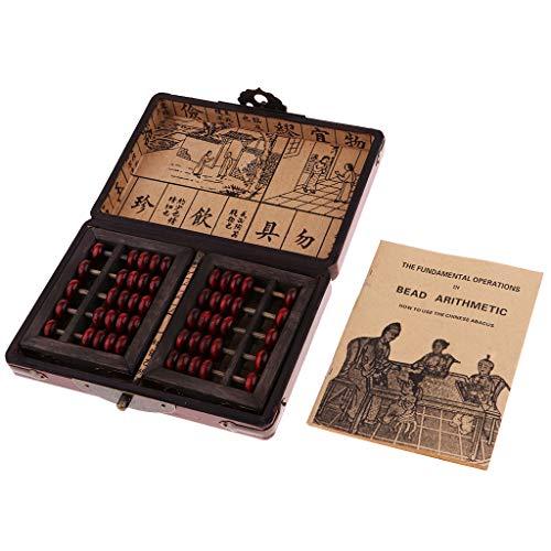 chiwanji Sammler 2X Antike Chinesische Hölzerne Abakus Rechner Werkzeug 5 Ziffern Mit Box