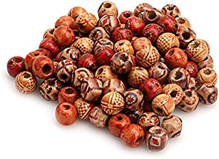 Zadaro 100pcs 10mm Mixed Pattern Printed Wooden Round Beads for Jewelry Making Loose Spacer Charms Large Hole