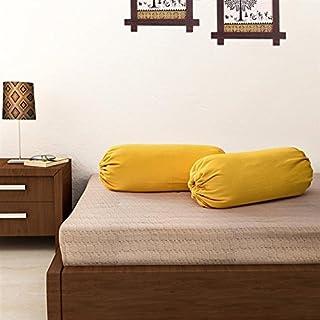 SOUMYA Cotton 200 TC Bolster Cover (Standard_Yellow)