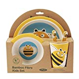 ORNAMI 5-Piece Bamboo Dinner Set for Children, Bee Design - Kids Dinner Set Includes Round Bamboo Plate, Toddler Cutlery, Bamboo Bowl and Kids Cup - Eco Friendly, BPA Free and Dishwasher Safe
