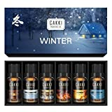 Essential Oils Set for Diffuser Aromatherapy, 6 x10ml, Winter Fragrance Oils Gift Set with Burning Wood, Falling Crystal,Dancing Flame,Snowy Morning, Frozen Stream. for Candles Making