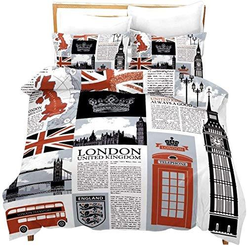zzkds LondonFull for Kids Teens Juego de Ropa de Cama temática del Reino Unido El Big Ben Símbolos Imprimir Funda de edredón Ative Cabina de teléfono Newpaper Vintage