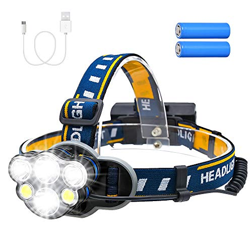 Consciot Rechargeable Headlamp, 6 LEDs 12000 Lumens 18650 USB Rechargeable Waterproof 8 Modes LED Flashlight Rechargeable Head Lights for Camping, Fishing, Hiking, Outdoors