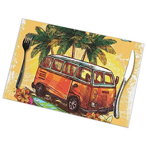 Mantel Individual Tapete de mesa Surf Hippie Classic Old Bus con tabla de surf Freedom Holiday Vida exótica Sketchy Art Theme Amarillo Naranja Verde Tapete de mesa 30X45CM