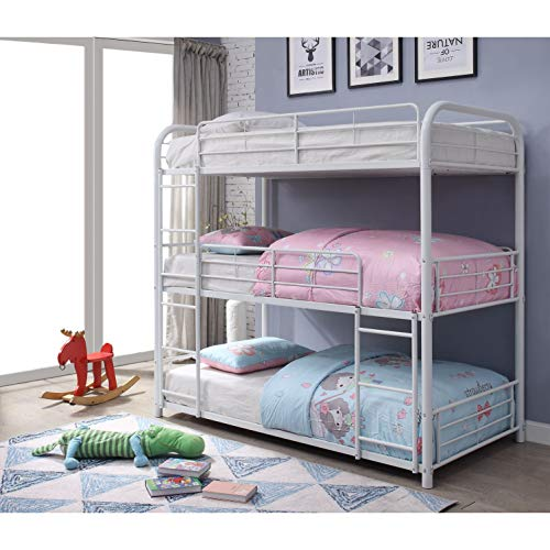 Acme Cairo Triple Bunk Bed in White, Multiple Sizes