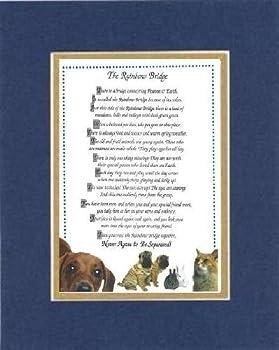 Touching and Heartfelt Poem for Dog Memorial - [The Rainbow Bridge] Dog Memorial Wall Decor Poem Pet Saying Bereavement] on 11 x 14 CUSTOM-CUT EXTRA-WIDE Double Beveled Matting