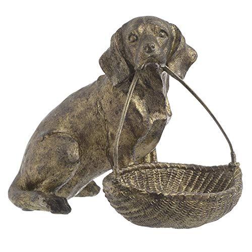 Inart - Cesta decorativa para mesa (polirresina, 21 x 14 x 18 cm), diseño de perro antiguo, color dorado