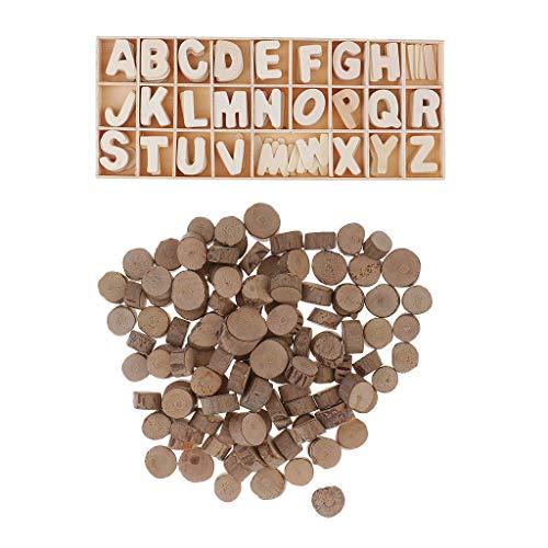 joyMerit 100Pc Wood Round Log Slices Tree Bark & 156Pcs Wooden Letters Alphabet DIY Craft