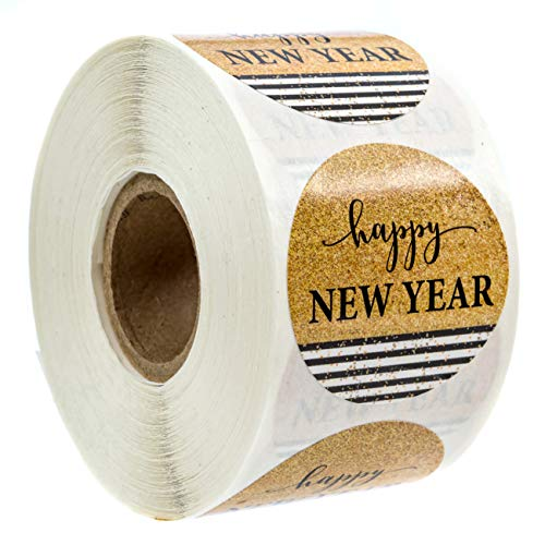 Black & Gold Happy New Year Stickers/500 New Year Labels/Happy New Year Faux Glitter Sticker