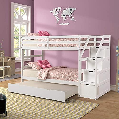 Uitschuifbare stapelbedden, massief houten twin-over-twin stapelbed met trap, opslag en veiligheidsbeugel voor jongens, meisjes, kinderen, tieners en volwassenen (wit)