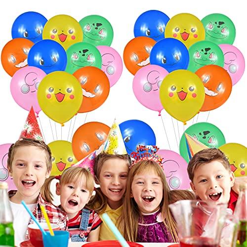 Pokemon Balloons, Globos de fiesta de cumpleaños para niños, de látex de 12 pulgadas, Artículos Decorativos Adecuados Para Diversas Ocasiones Como Fiestas De Cumpleaños,(53 pcs)