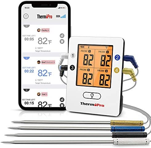 ThermoPro TP25 500ft Wireless Bluetooth Meat Thermometer with 4 Temperature Probes Smart Digital product image