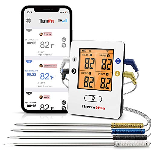 ThermoPro TP25 500ft Wireless Bluetooth Meat Thermometer with 4 Temperature Probes Smart...