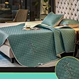BSWL Colchón, Colchón De Látex, Summer Natural Latex Mat Tres Piezas De Aire Acondicionado Tencel Soft Mat Ice Silk Lavado Plegable,Dark Green,150 * 200cm