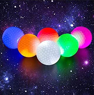 Crestgolf Flashing Glowing Golf Ball,Night Glow Flash Light up LED Golf Ball,six Color for Your Choice(6 Pack)