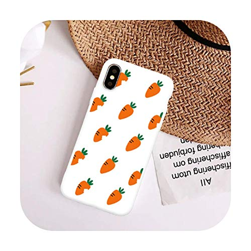 Cute Carrot Phone Cases For iPhone X XS MAX XR 7 8 Plus Cartoon Matte Soft TPU Silicone Back Cover Fruit Coque Shelll-White-For iPhone 8 plus