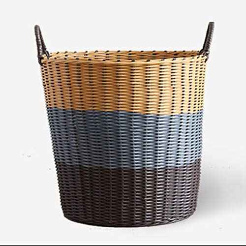 AINH Hand-made Plastic Laundry Basket With Handle,Breathable High Capacity Storage Basket,Multifunction Home Use Laundry Hamper For Toys Clothes Brown 36x28x34cm(14x11x13inch)