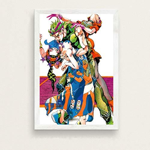 Fymm丶shop Creative Mode Moderne De JoJo Bizarre Adventure Hot Japan Anime Art Peinture Soie Toile Affiche Murale Décor À La Maison No Frame 50X70 Cm