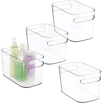 """mDesign Deep Plastic Bathroom Vanity Storage Bin with Handles - Organizer for Hand Soap, Body Wash, Shampoo, Lotion, Conditioner, Hand Towel, Hair Brush, Mouthwash - 10"""" Long, 4 Pack - Clear"""