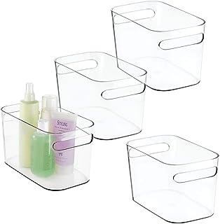 mDesign boite de rangement en plastique (lot de 4) – bac de rangement idéal pour maquillage, parfum, lotions, etc. – panie...