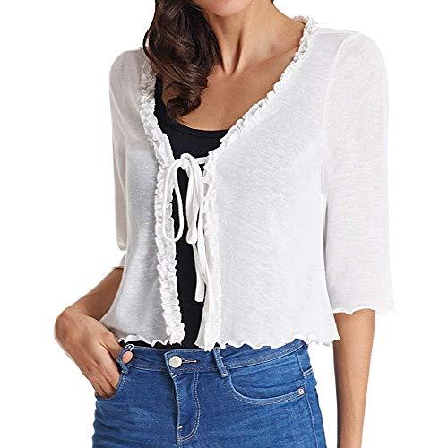 Ashui Damen Langarmshirt T-Shirt Tops Oberteile Chiffonblusen mit Spitze Sommer Herbst Frauen Freizeit T-Shirt Tops Blusenshirt Schluppenbluse mit Schleife Schnürung