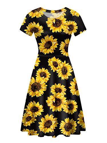 Polero-Kleid für Damen, klassisch, Leopardenmuster, Sonnenblumen-Kleid, mittellang, Rundhalsausschnitt, kurze Ärmel, für Freizeit, Arbeit, Party Gr. L, Sonnenblume Schwarz