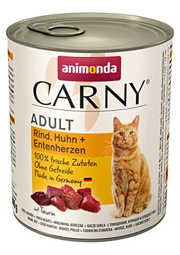 animonda Carny Adult Katzenfutter, Nassfutter für ausgewachsene Katzen, Rind, Huhn + Entenherzen, 6 x 800 g