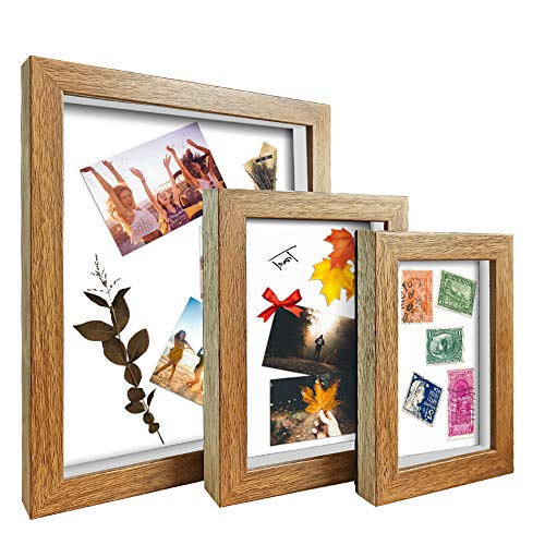 ArtbyHannah 3Pack Walnut Shadow Box Picture Frame Set with Glass Cover,Display Case with Mat for...