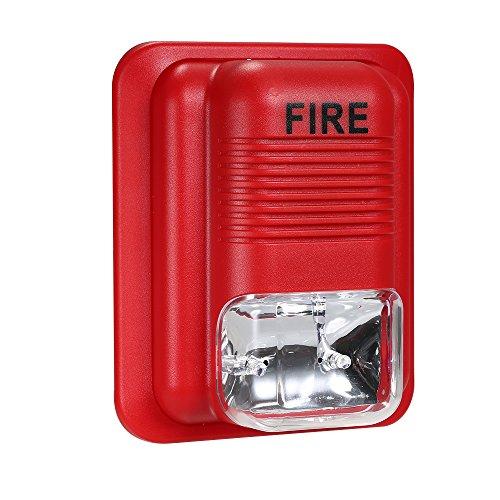OWSOO Alarma de Incendios Advertencia Sirena Alerta Sonido Estroboscópica Sistema de Seguridad para Hogar Oficina Hotel Restaurante
