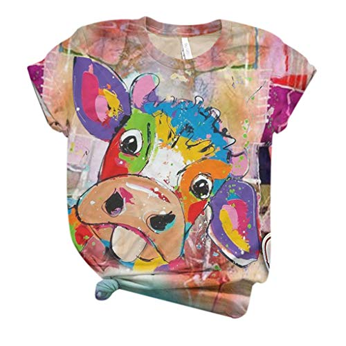 Best Prices! Dosoop Women Cute Cow Printed Graphic T-Shirt Short Sleeve Summer Casual Loose Tees Top...