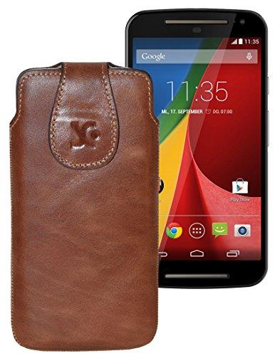 Original Suncase Tasche für / Motorola Moto X 2014 (2. Generation) / Leder Etui Handytasche Ledertasche Schutzhülle Hülle Hülle / in antik-rost