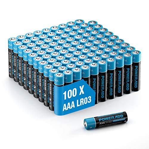 AAA Batterien, POWERADD Micro Alkaline Batterien AAA 100 stück, 1.5 V LR03 Einwegbatterien
