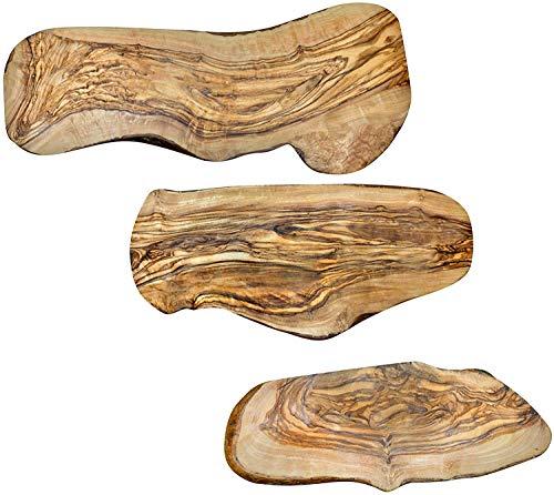 NATUREHOME Baumscheibe Olivenholz oval S,M,L (3er Set) naturbelassene Rindenscheibe als Servierbrett, zur Dekoration oder rustikales Schneidebrett