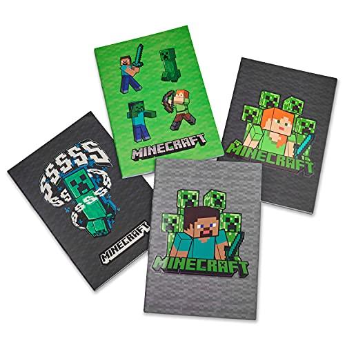 Minecraft Pack de 4 Libretas Bonitas A5, Material Escolar, Regalos Cumpleaños de Niños para Colegio
