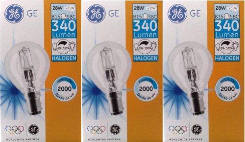 3 x GE (General Electric), 28 W (= 35 W), 40 W, SBC, B15, Eco Halogen Classic Mini W, Energiesparlampe, kleiner Bajonettsockel, Golfballform, dimmbar, 240 V, 340 Lumen