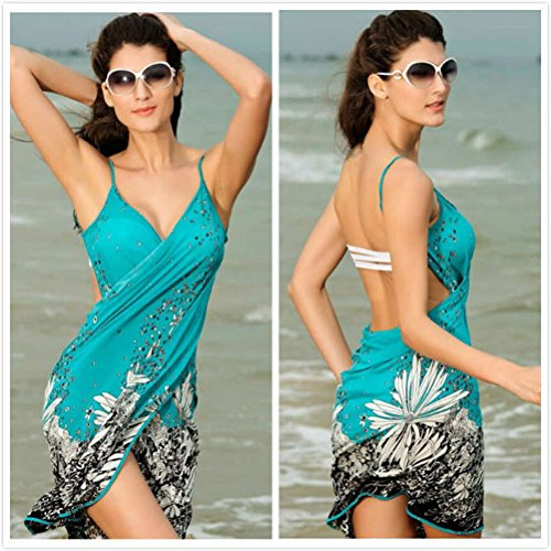TTD Verano Mujeres Pareos V Cuello Escotado por Detrás Sin Mangas Vestido De Abrigo Bañador Cover Up Beachwear