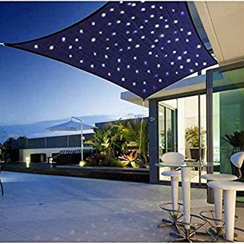 LUKUCEA Voile d'ombrage Imperméable Carré 3 x 3 m avec de Corde Libre extérieure avec Éclairage LED Solaire et Kit de Fixation pour Voile d'ombrage pour Terrasse Camping Extérieur Jardin,Big Red