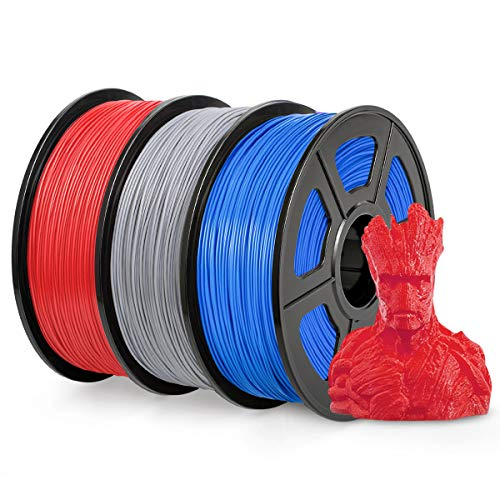 PLA Filament 1.75mm, SUNLU PLA plus Filament for 3D Printer, Dimensional Accuracy +/- 0.02 mm, PLA+ Blue + Silver + Red 1KG