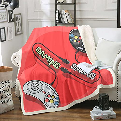 Loussiesd Gamer - Manta de forro polar para cama y sofá para niños, controlador de videojuegos, manta difusa para habitación de juegos, juego de sherpa, manta roja para bebé, 30 x 40 pulgadas