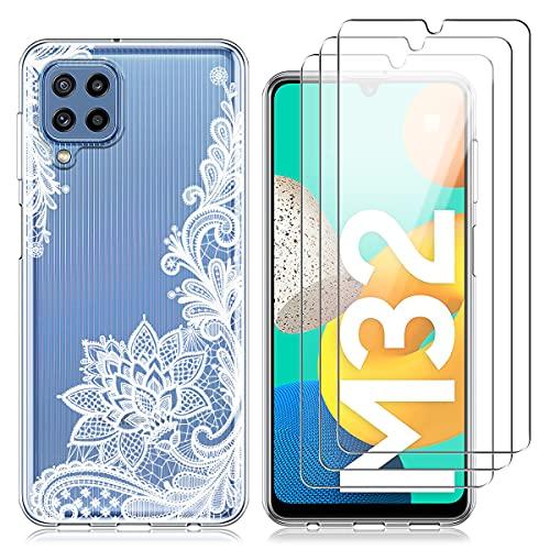 Reshias Cover per Samsung Galaxy M32, Fiore Bianco Morbido TPU Protettiva Custodia con Tre [9H Durezza] Vetro Temperato Pellicola Protettiva per Samsung Galaxy M32 6.4''