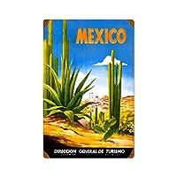 なまけ者雑貨屋 Mexico Cactus メタルプレート アンティーク な ブリキ の 看板、レトロなヴィンテージ 金属ポスタ