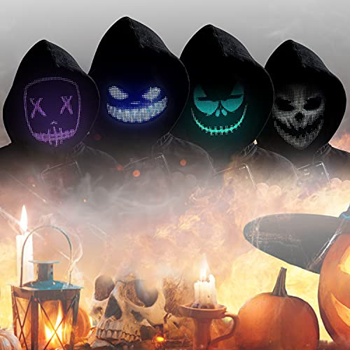 Halloween Led Light Up Mask – LED Mask for Adults, Bluetooth Programmable, Suitable For Halloween Party, Carnivals, The Purge/Ghost/Scary Light Up Mask For Cosplay, Customize Led Mask For Boys, Girls