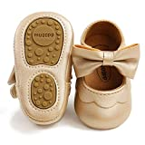 BABITINA Baby Girl Shoes Mary Jane Flats with Bowknot Non-Slip Toddler First Walkers Infant Dress Shoes (12-18 Months M US Toddler,H-Gold)