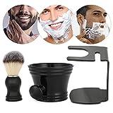 Set de brochas de afeitar, brocha de pelo de nylon negro 3 en 1 con tazón de jabón Brocha de afeitar Brocha Soporte Gran regalo para hombres Familia y viaje Gran regalo