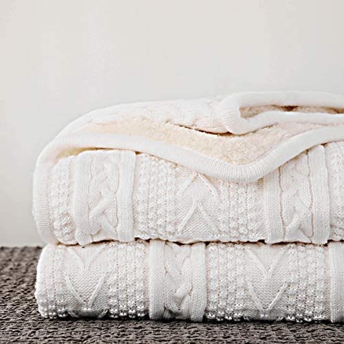 Longhui bedding Acrylic Cable Knit Sherpa Throw Blanket Thick Soft Big Cozy Ivory White Knitted product image