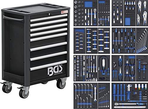 BGS 4114 | Werkstattwagen Profi Exclusive | 8 Schubladen | mit 259 Werkzeugen | gefüllt | abschließbar | massives Metall