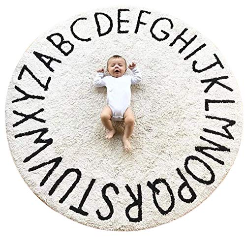 ABC Large Baby Rug for Nursery Kids Round Educational Alphabet Warm Soft Activity Mat Floor Area Rugs Cotton Non-Slip for Children Toddlers Bedroom 59inch
